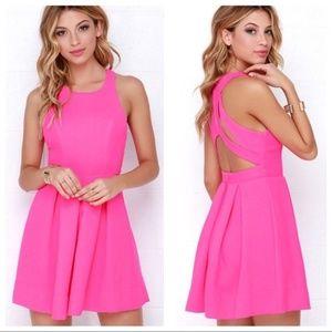 Lulu's Test Drive Neon Pink Dress Size S